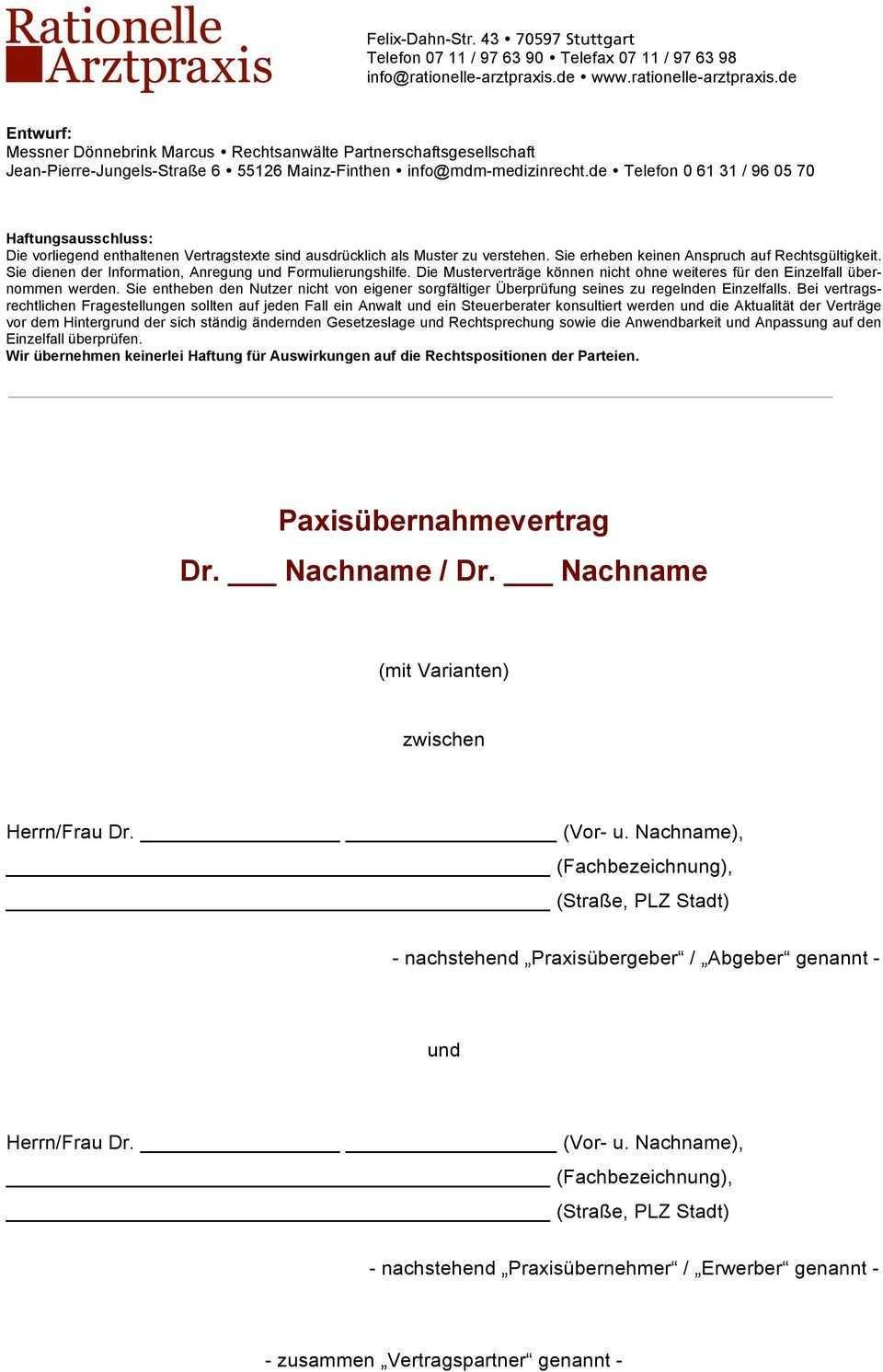 Paxisubernahmevertrag Dr Nachname Dr Nachname Pdf Kostenfreier Download