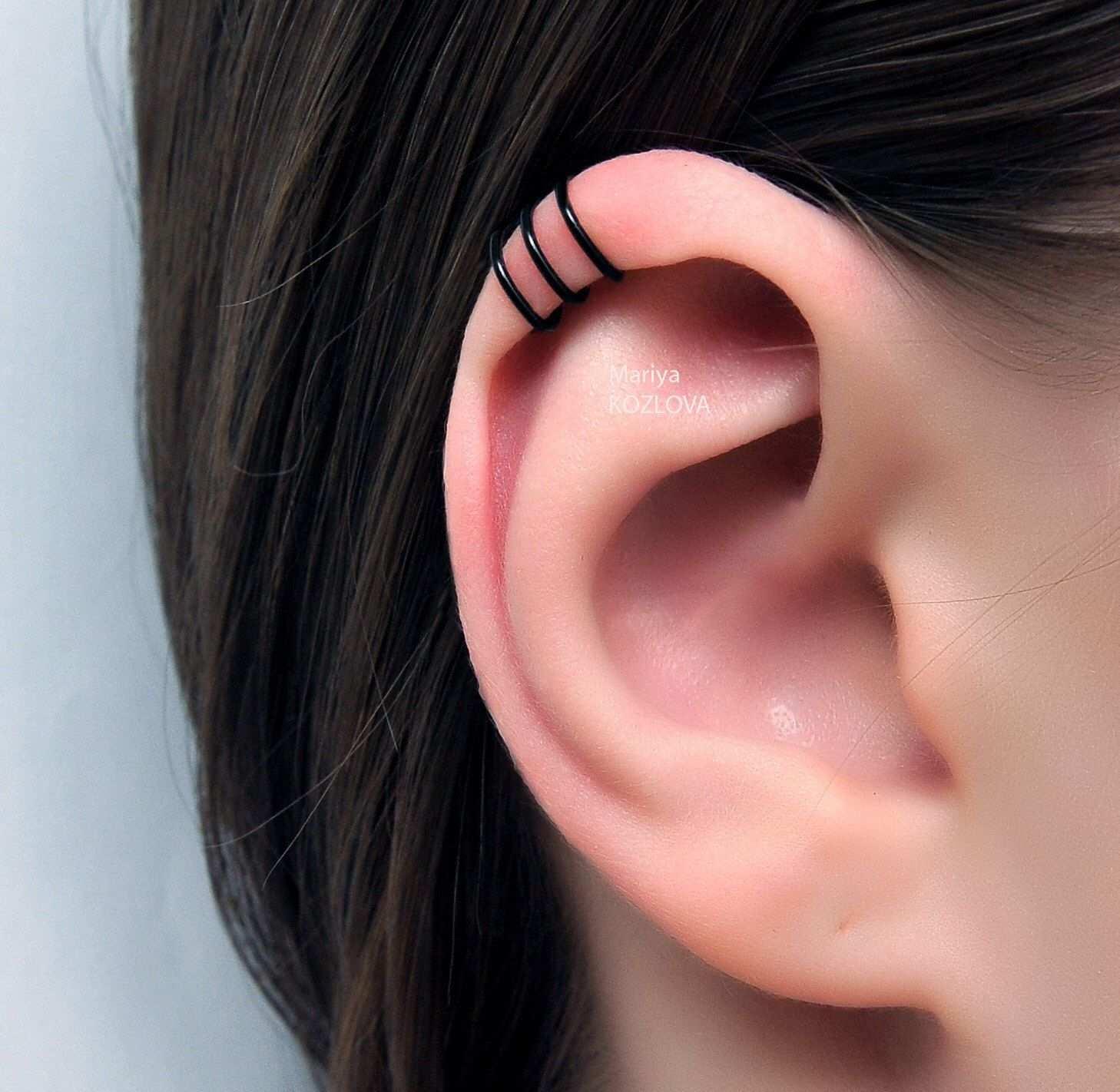 No Piercing Black Three Rings Helix Ear Cuff Triple Rings Helix Piercing Imitation Ohrklemme Ohrclip Ear Jacket Manschette Fake Piercing Ohr Ear Cuff Jewelry Ear Cuff Cartilage Ear Cuff