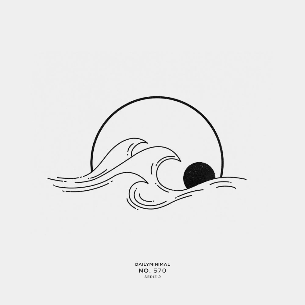 Daily Minimal No 570 A New Geometric Design Every Day Wave Tattoo Design Minimal Tattoo Design Wave Drawing