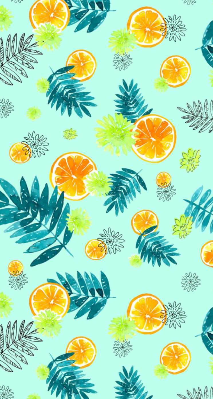 Nathalie Ouederni Watercolor Citrus Wallpaper Iphone5 Jpg 744 1 391 Pixels Pretty Phone Wallpaper Pretty Wallpapers Funky Wallpaper
