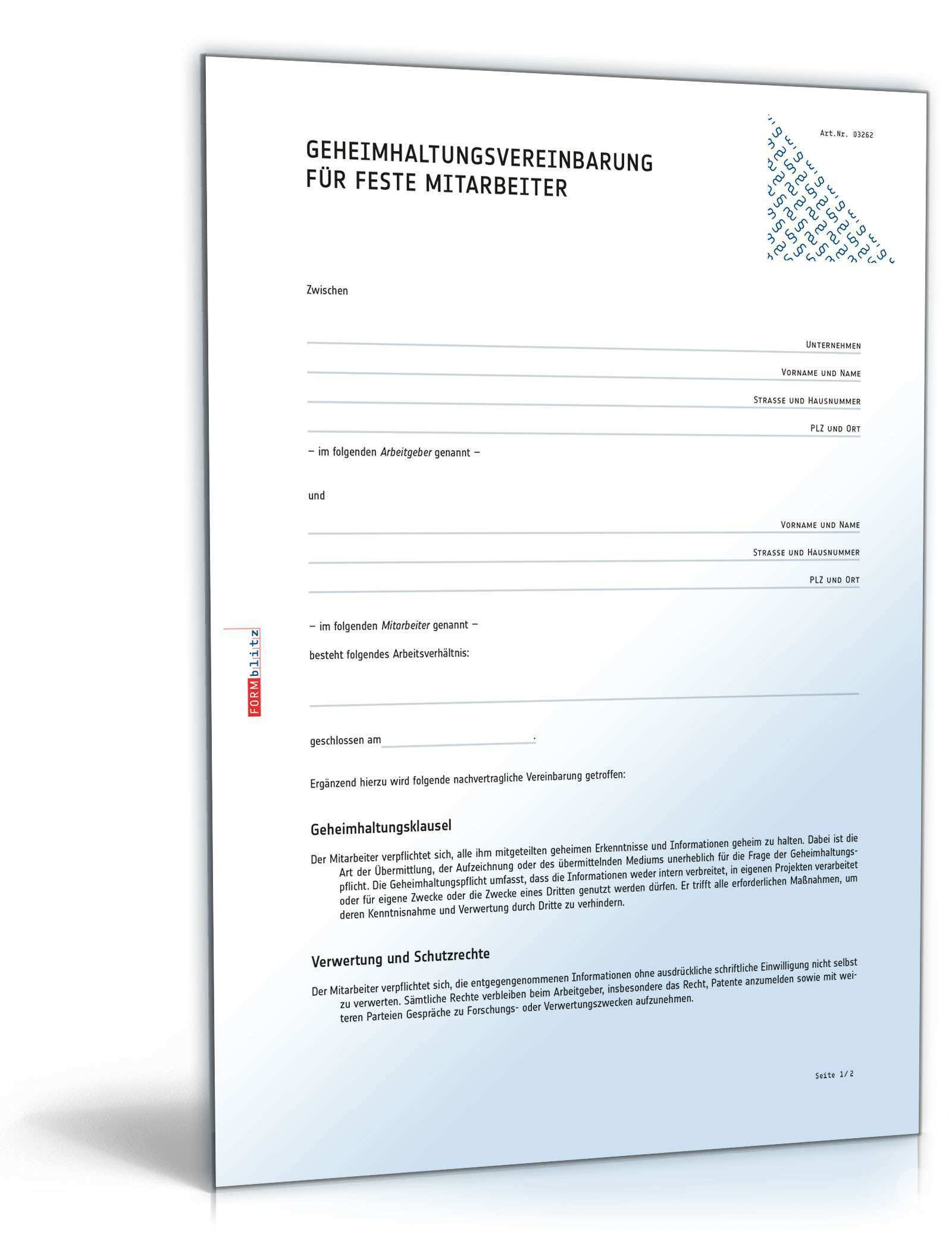 Geheimhaltungsvereinbarung Fur Mitarbeiter Vorlage Zum Download