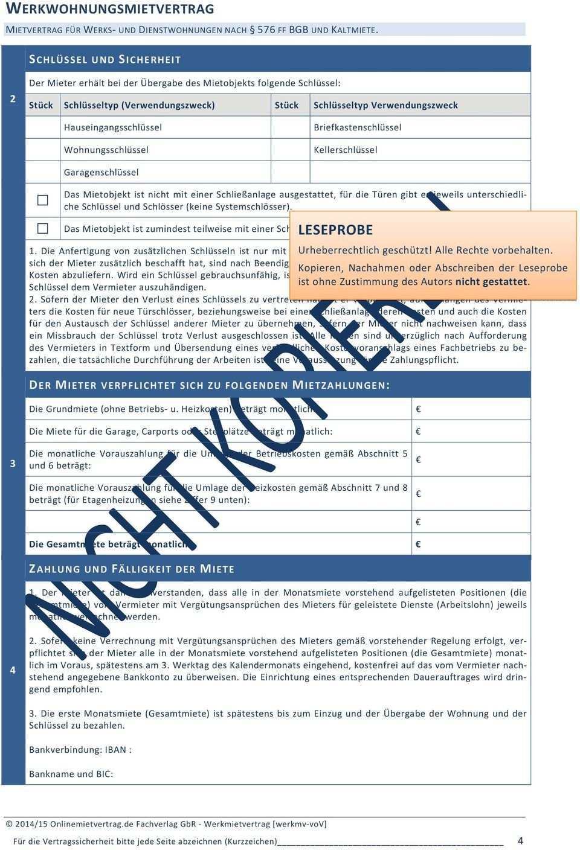 Werkwohnungsmietvertrag Vollversion Pdf Kostenfreier Download