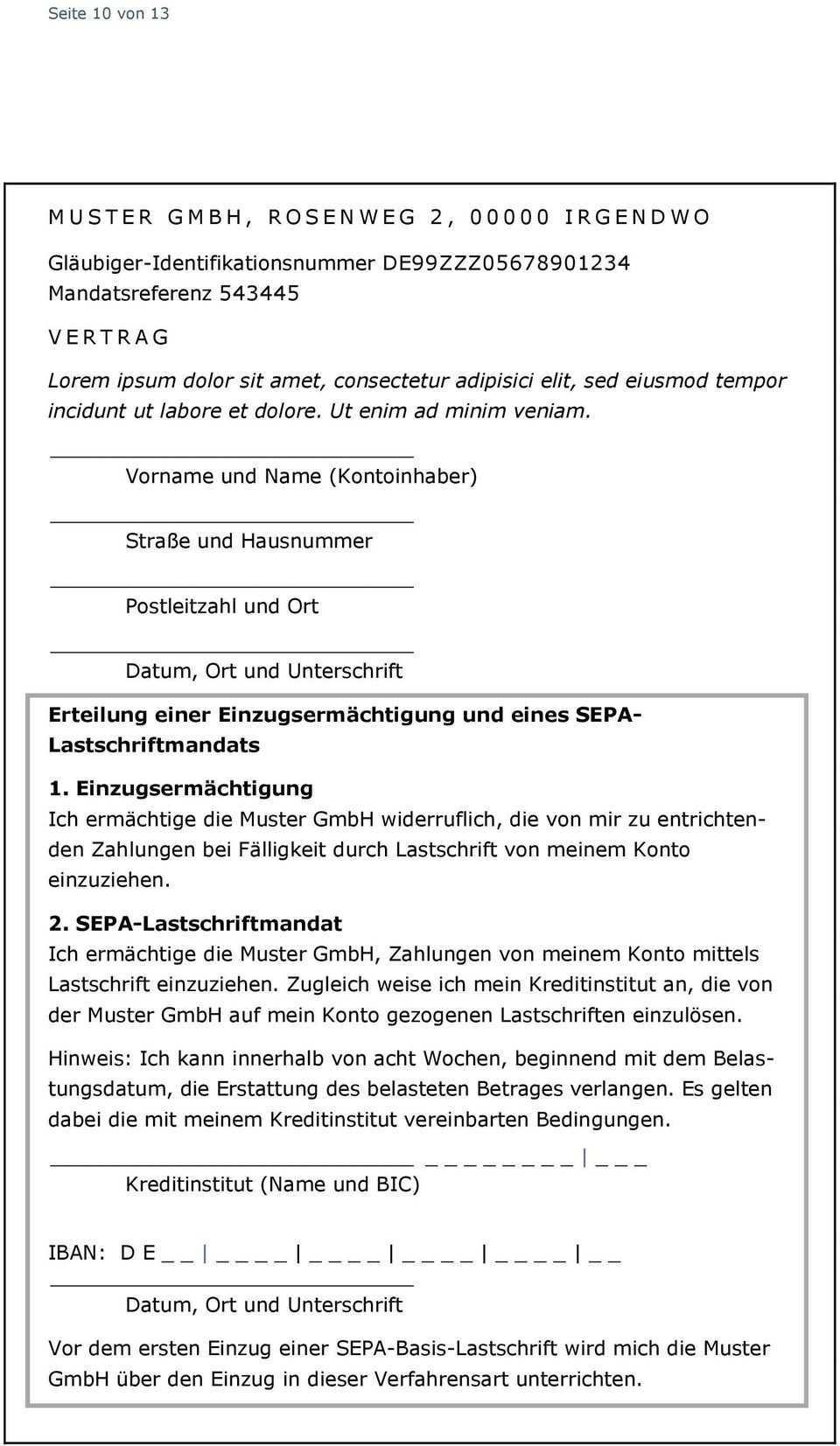 1 1 Sepa Lastschriftmandat Als Separates Formular Pdf Kostenfreier Download