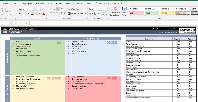 Eisenhower Matrix Template Prioritize Your Tasks In Excel