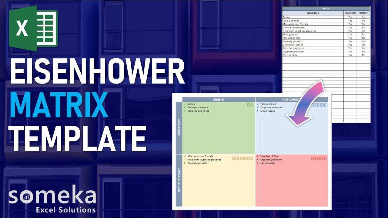 Eisenhower Matrix Excel Template Eloquens