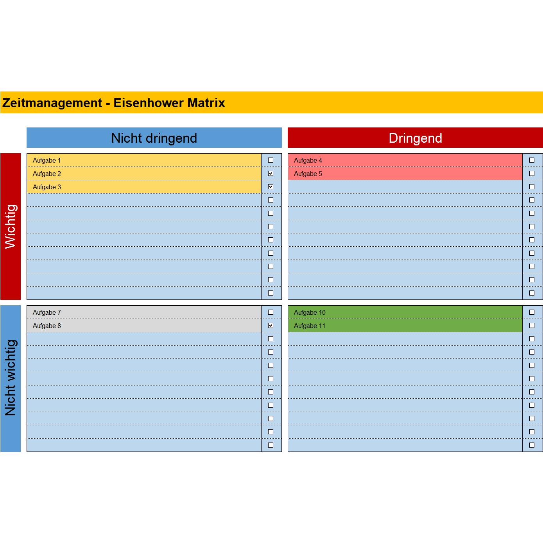 Eisenhower Matrix Zur Prioritatenbildung Excel Tabelle Business Wissen De