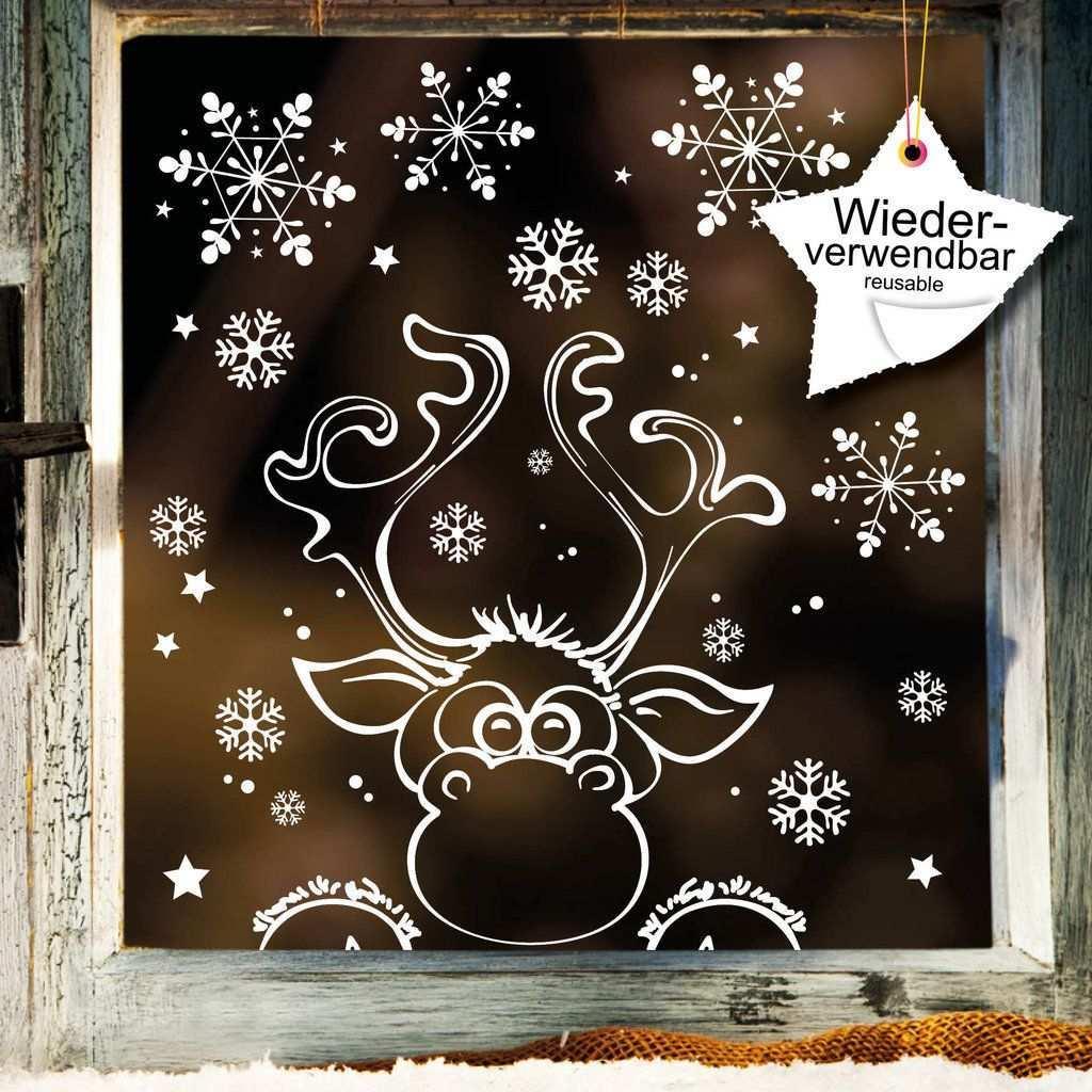 Fensterbild Elch Mit Schneeflocken Wiederverwendbar Fensterbilder Weihnachten Fensterbilder Weihnachten Basteln Fensterdeko Weihnachten Basteln