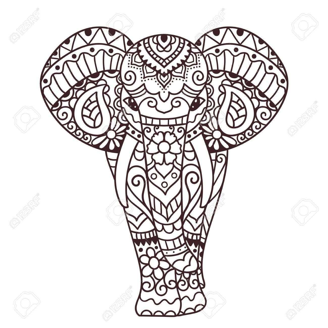 Dekorative Elefant Illustration Indian Thema Mit Ornamenten Vector Isolierte Darstellung Tattoo Elefanten Elefant Zeichnung Elefant Malen