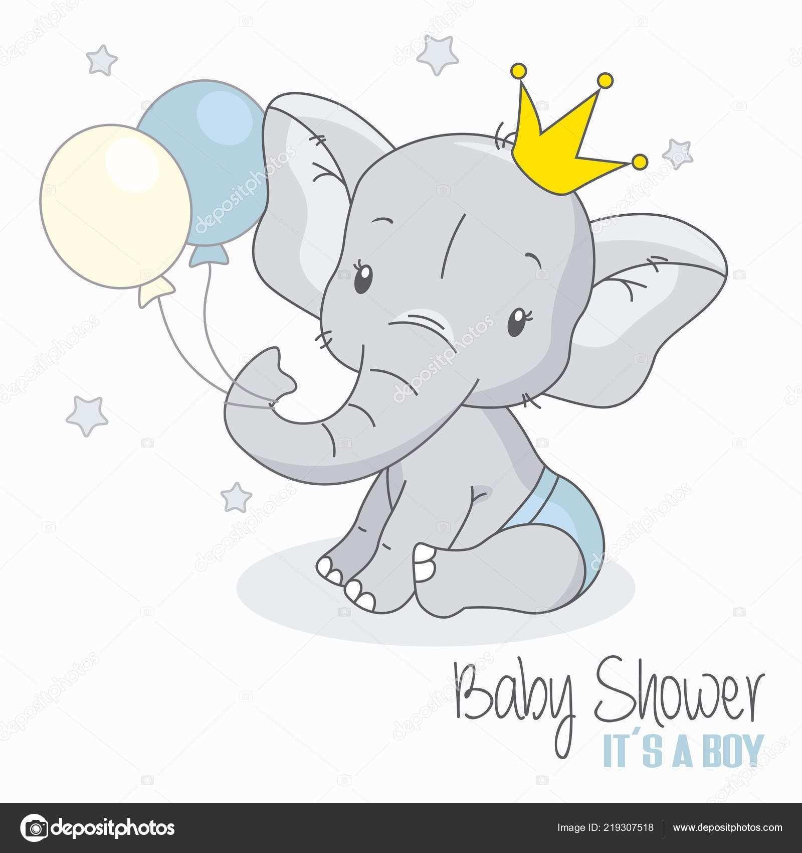 Herunterladen Baby Dusche Junge Niedlichen Elefanten Mit Luftballons Stockillustration Baby Elefant Zeichnung Elefant Niedliche Elefanten