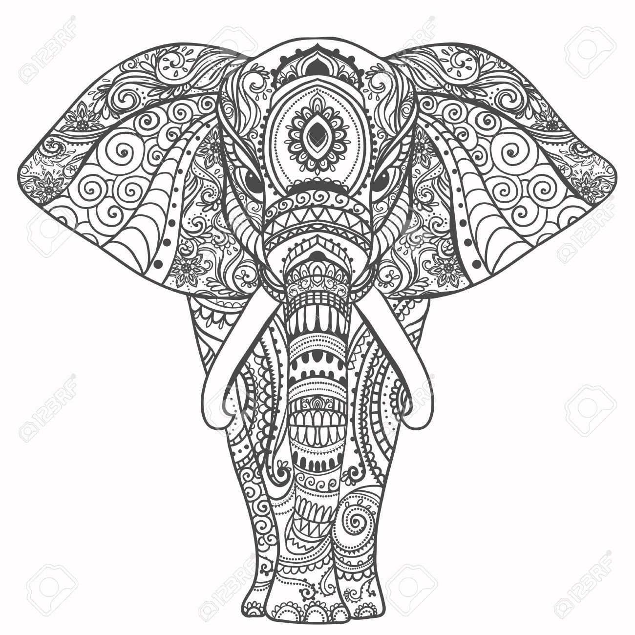 Gruss Schone Karte Mit Elefant Frame Of Animal Gemacht In Vektor Perfekte Mandala Tiere Kunstproduktion Elefant