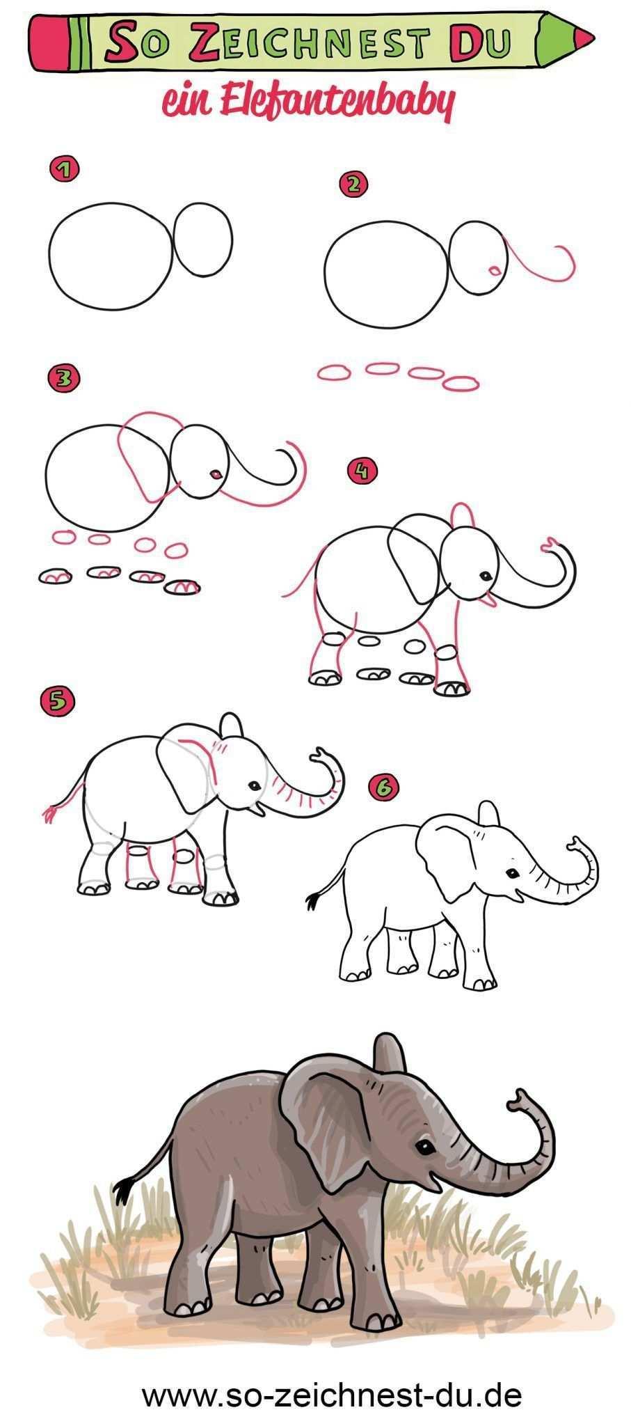 So Zeichnest Du Ein Elefantenbaby Elefant Zeichnen Lernen Lerne Wie Du In Wenigen Schritten Ein Susses Elef In 2020 Elephant Drawing Animal Caricature Easy Drawings