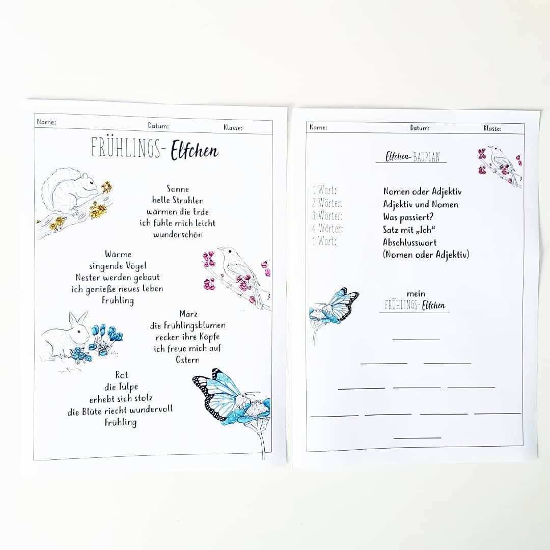 Fruhlings Elfchen Nach Den Ferien Plane Ich Eine Kurze Einheit Zum Thema Fruhling Ich Mochte Dabei Fache Elfchen Gedicht Grundschule Elfchen Schreiben