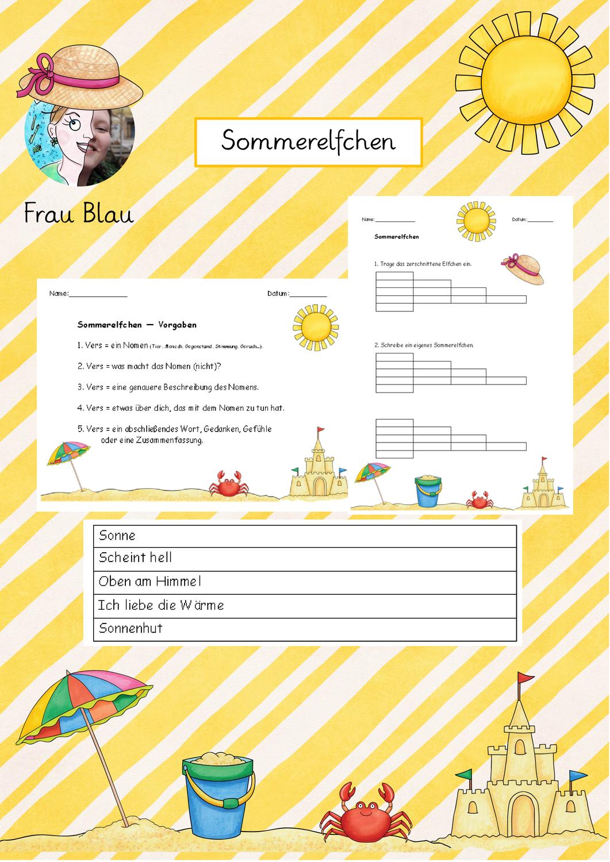 Sommerelfchen Elfchen Unterrichtsmaterial Thema