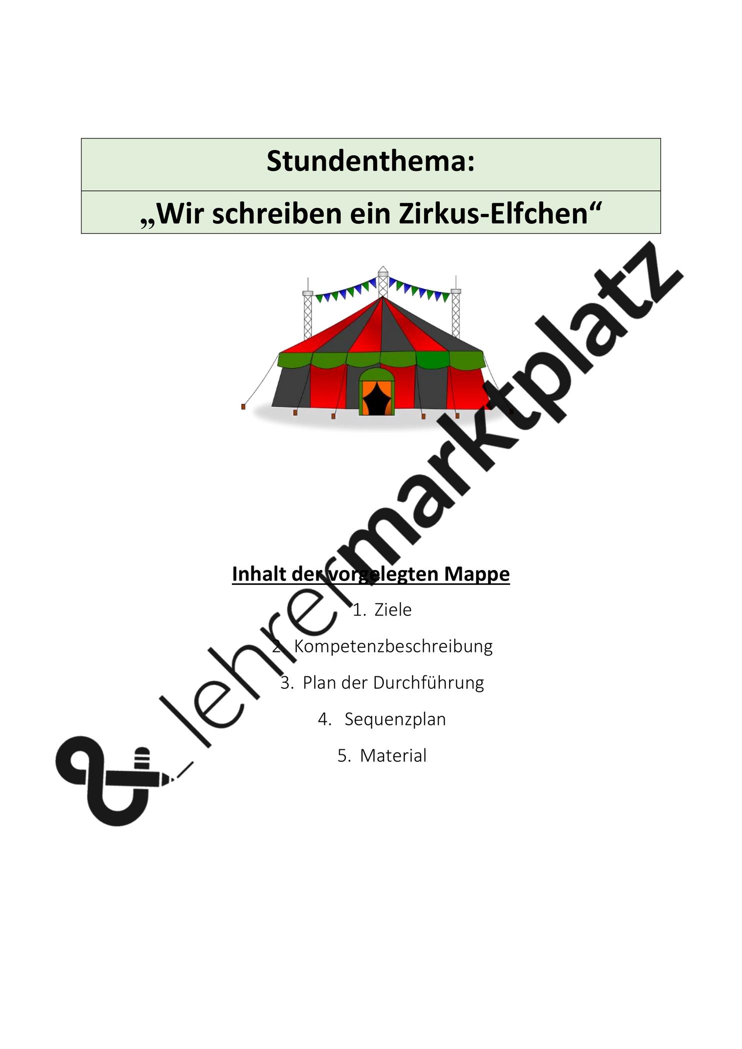 Wir Schreiben Ein Zirkus Elfchen Unterrichtsmaterial Im Fach Deutsch Elfchen Schreiben Thema Zirkus