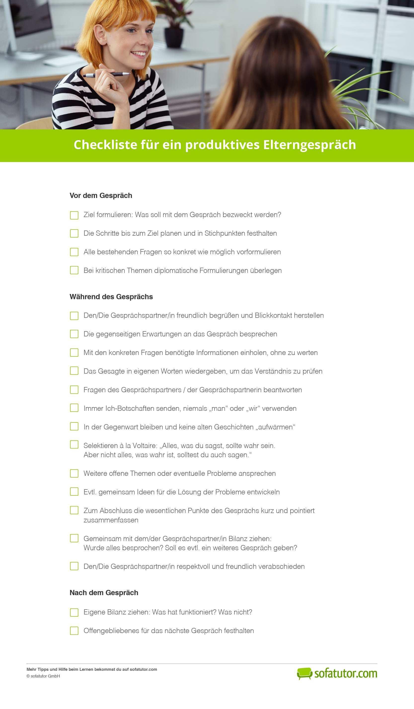 Checkliste Fur Ein Produktives Elterngesprach