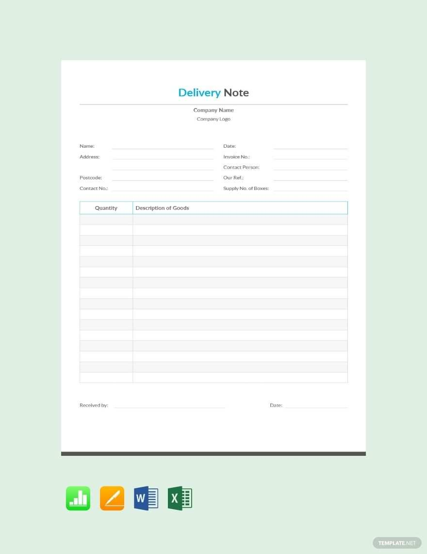 Free Simple Delivery Note Template Pdf Word Doc Excel Apple Mac Pages Apple Numbers Notes Template Doctors Note Template Templates