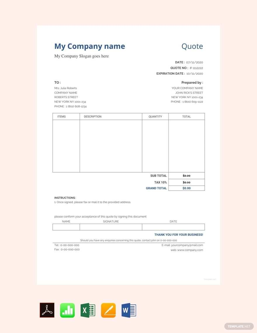 Free Sample Quotation Format Template Pdf Word Doc Excel Apple Mac Pages Apple Numbers Quotation Format Quotation Sample Quotation Format In Word