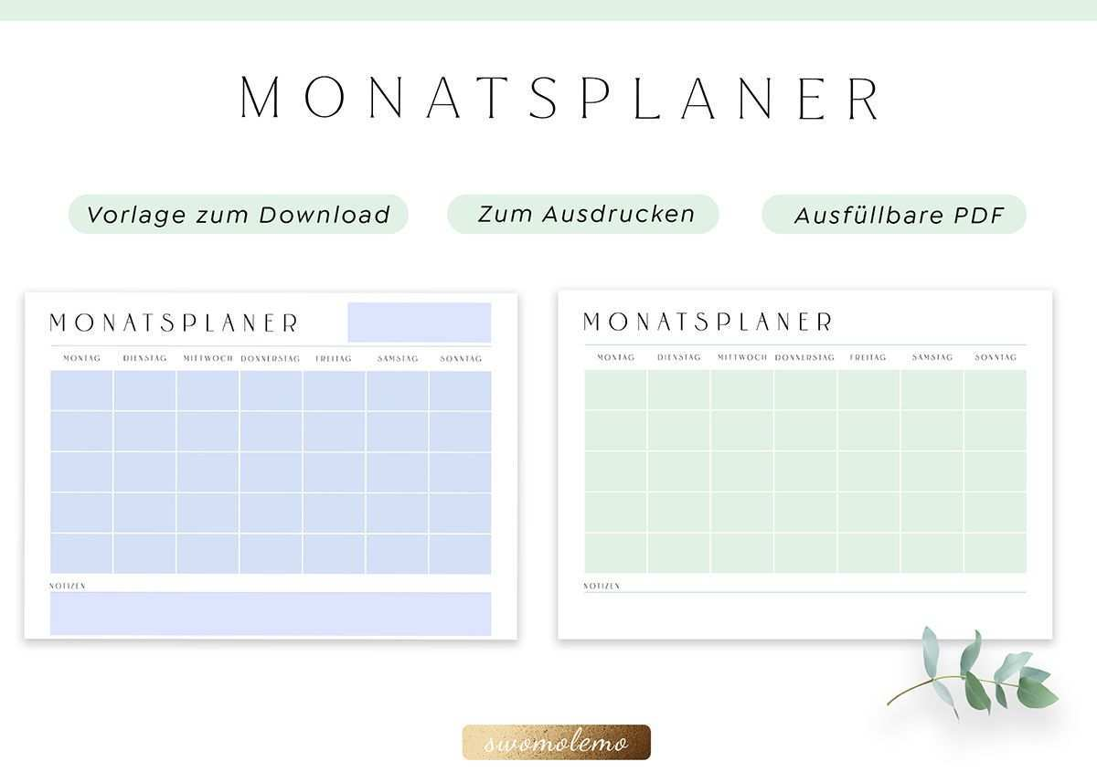 Monatsplaner Vorlage Druckbar Minimal Green Swomolemo Monatsplaner Vorlage Monatsplaner Planer Vorlagen