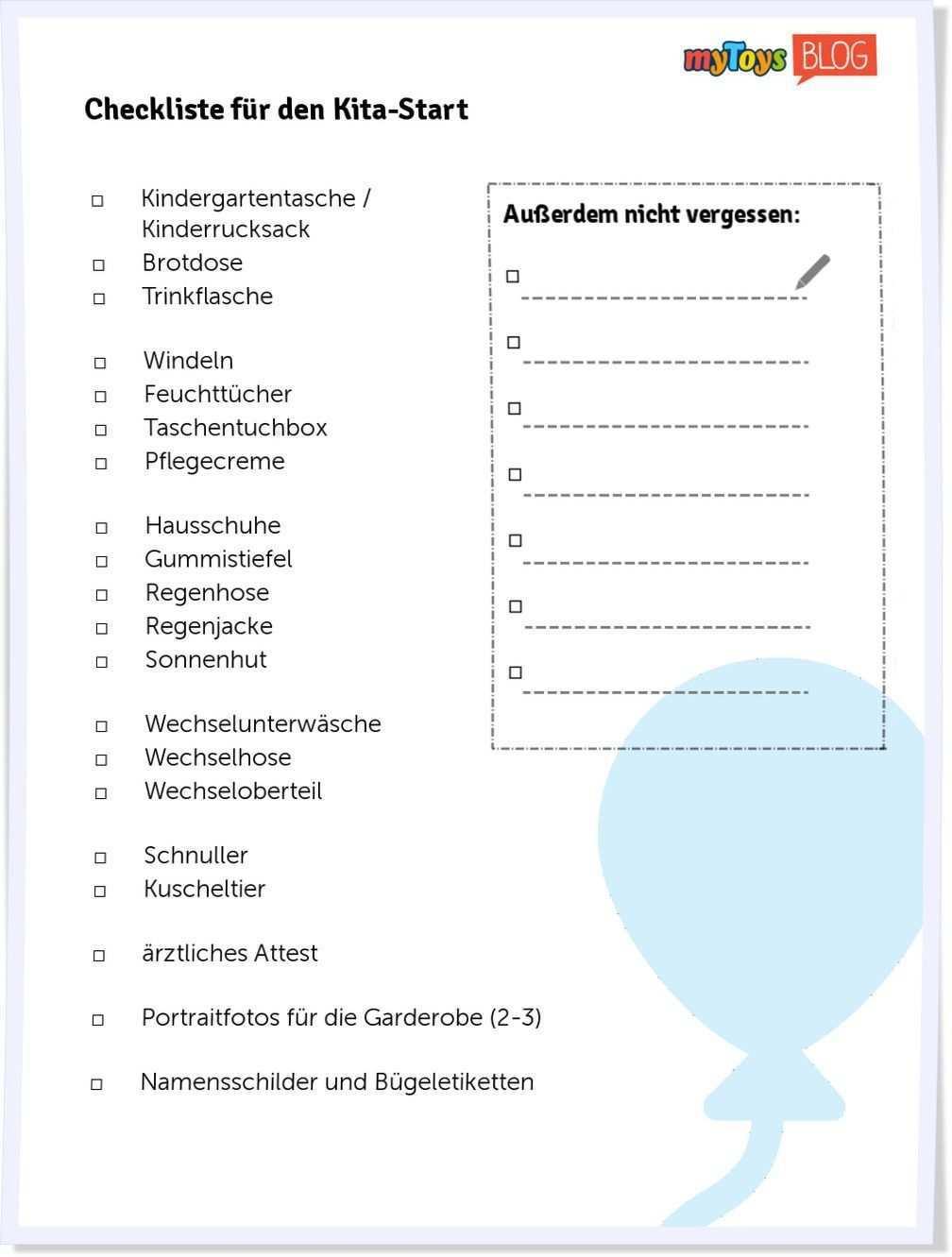 Checkliste Zum Kita Start In 2020 Kindergarten Portfolio Kindergarten Checklist