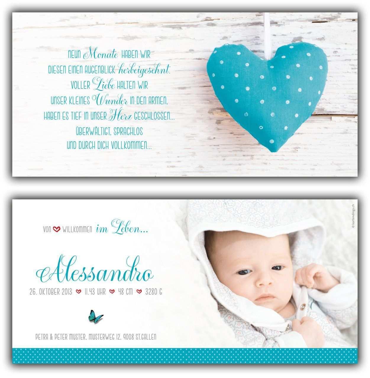 Alessandro Geburtskarte 210x100 Mm Karte Auch In Anderer Farbe Oder Mit Einem Unserer Anderen Herzen Erhaltlich Geburtskarten Babykarten Geburtskarten Baby