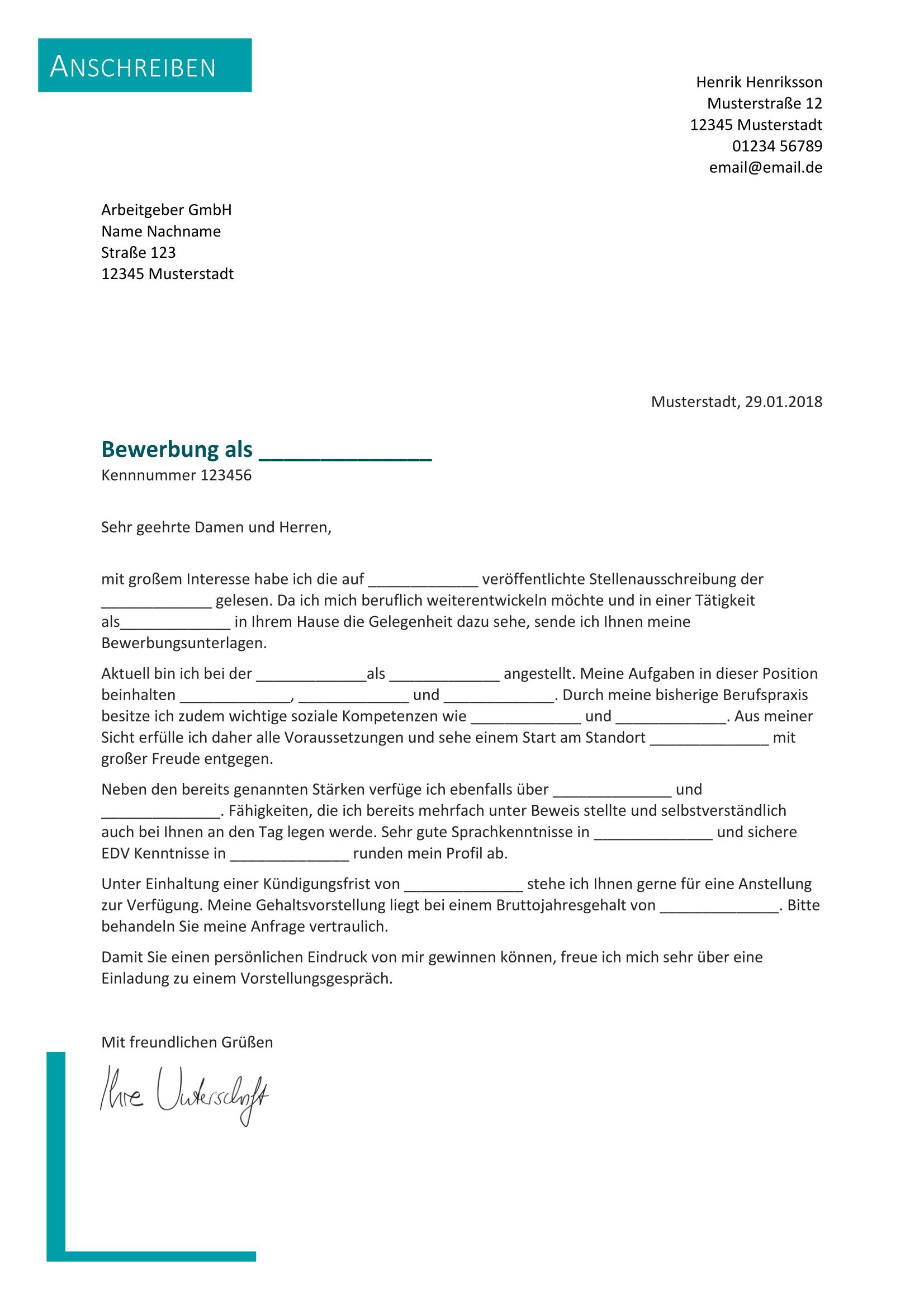 Briefprobe Briefformat Briefvorlage Bewerbung Schreiben Bewerbung Anschreiben Muster Vorlage Bewerbung