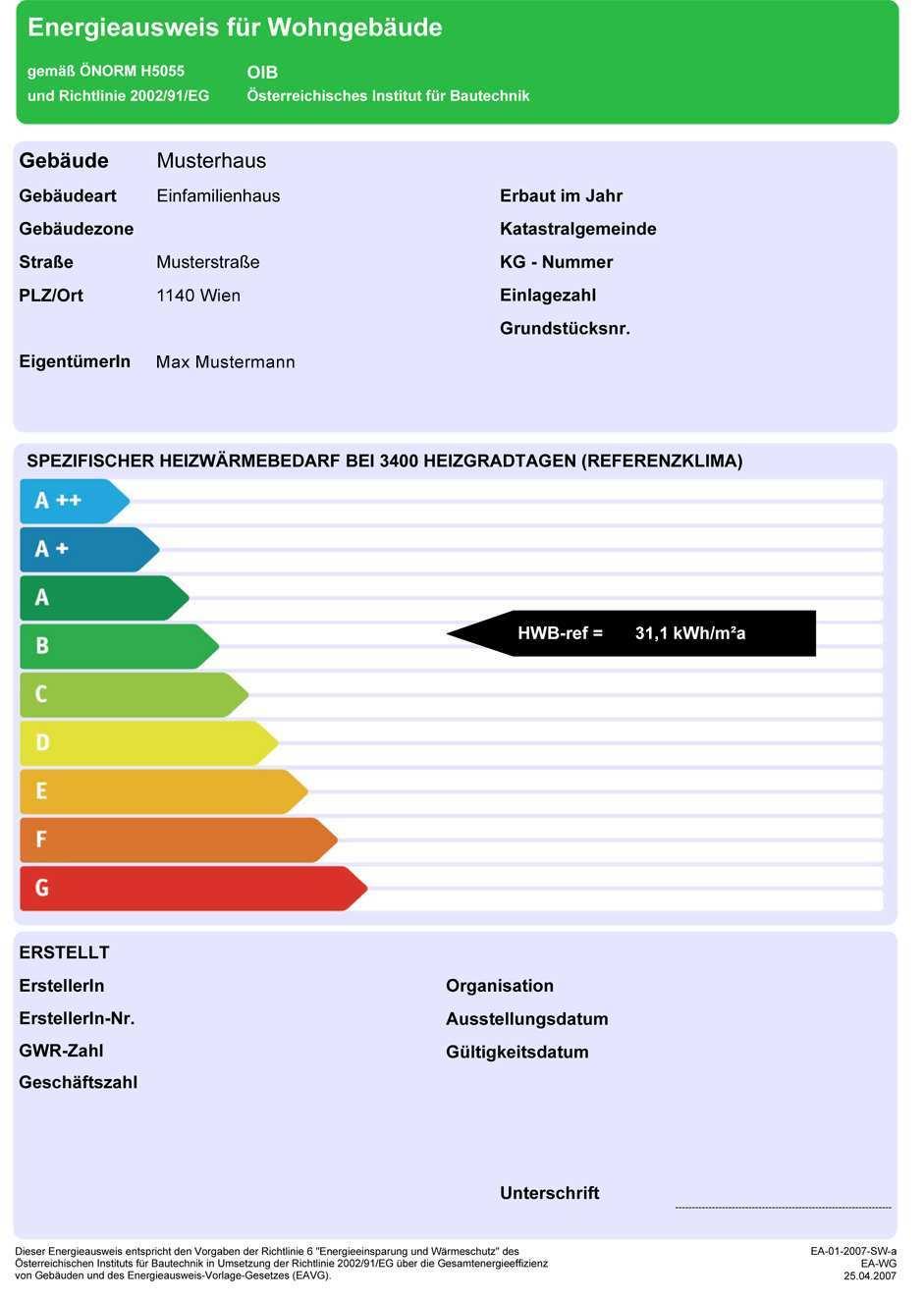 Energieausweis Seiwald Plan
