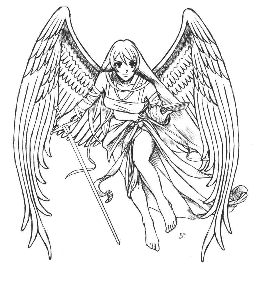 Ausmalbilder Fabelwesen Fantasie Engel Angel Engel Fantasy Ausmalbilder Ausmalen Malvorlagen