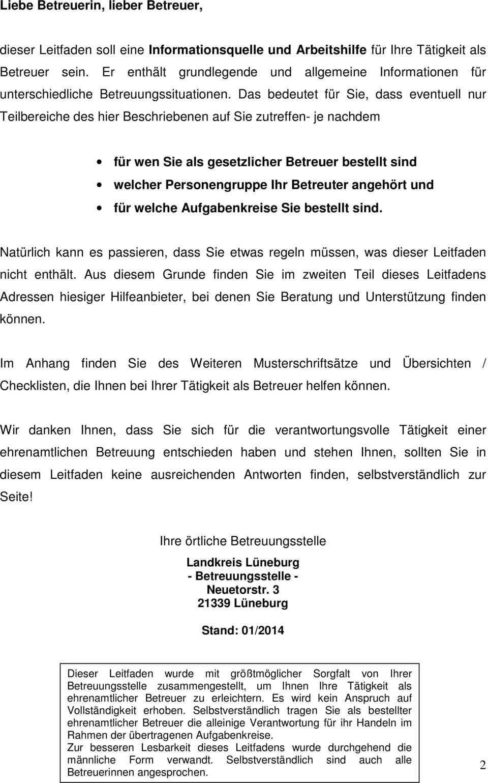 Leitfaden Fur Ehrenamtliche Betreuerinnen Und Betreuer Landkreis Luneburg Betreuungsstelle Pdf Free Download