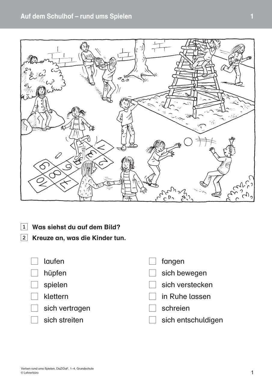 Verben Rund Ums Spielen Daz Daf 1 4 Grund Webcover Jpg 905 1280 Grundschule Daf Verben