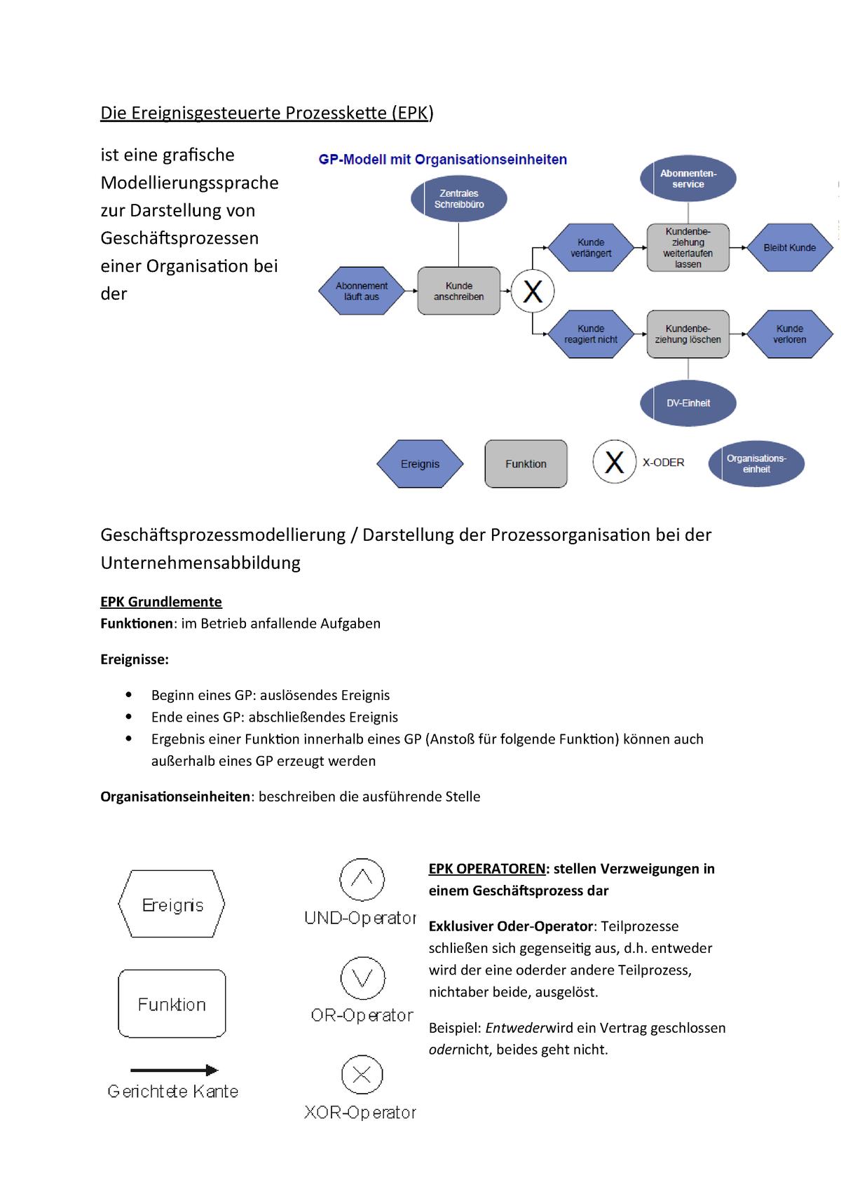 Die Ereignisgesteuerte Prozesskette Die Ereignisgesteuerte Prozesskette Epk Ist Eine Grafische Modellierungssprache Zur Darstellung Von Einer Organisation Bei Studocu
