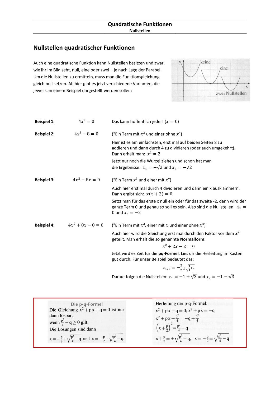 Quadratische Funktionen Arbeitsblatt Nullstellen Eklarung Beispiel Ubung Unterrichtsmaterial Im Fach Mathematik Lernen Tipps Schule Nachhilfe Mathe Mathematik Lernen