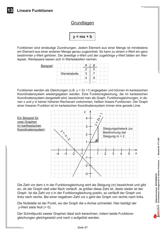 Allgemeinwissen Mathematik Lineare Funktionen Unterrichtsmaterial Im Fach Mathematik Mathematik Lineare Funktion Allgemeinwissen