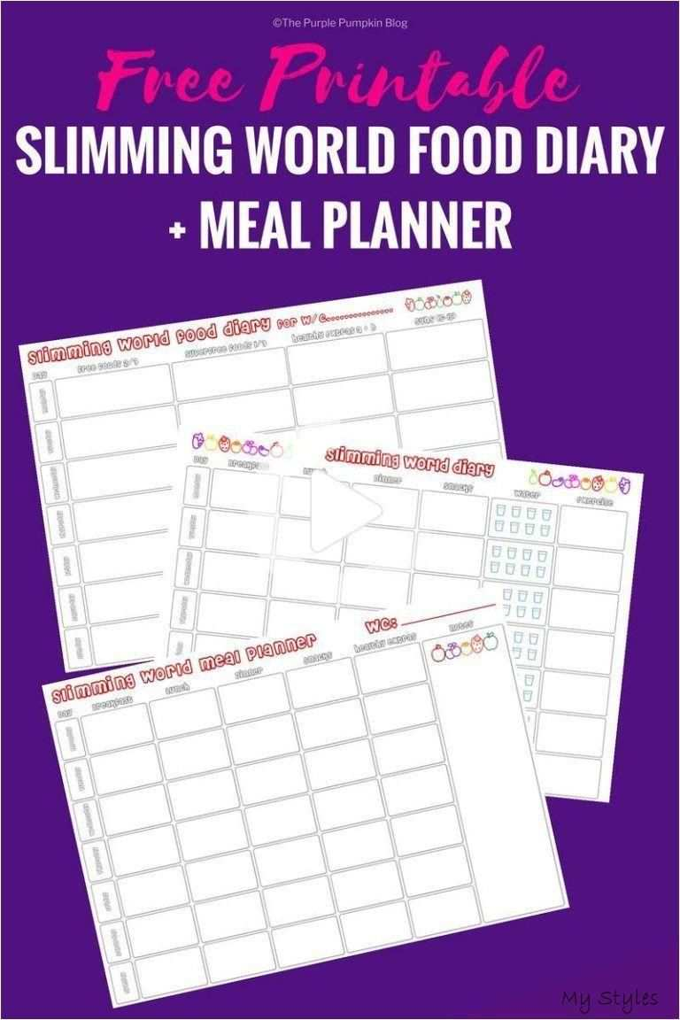 Slimming World Food Diary Printable Bonus Meal Planner If You Follow The Slimming World Diet Then Download This Free Printable To Help You Keep Track Diyp In 2020