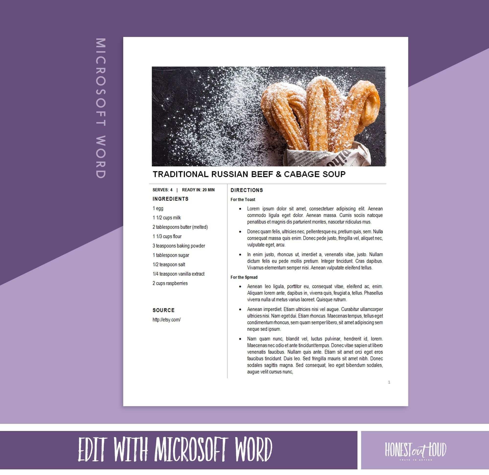 Recipe Template Printable Microsoft Word 8 5x11 Instant Etsy Recipe Template Food Printables Simple Cookbook
