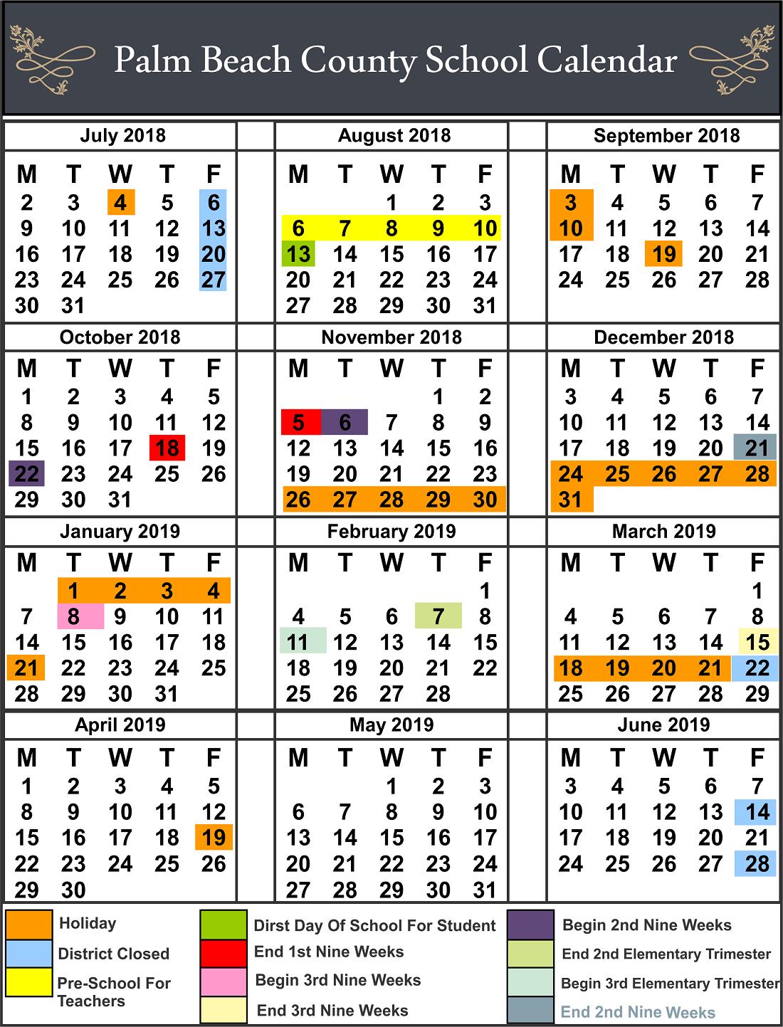 Palm Beach County School Calendar You Calendars School Calendar Palm Beach County Calendar