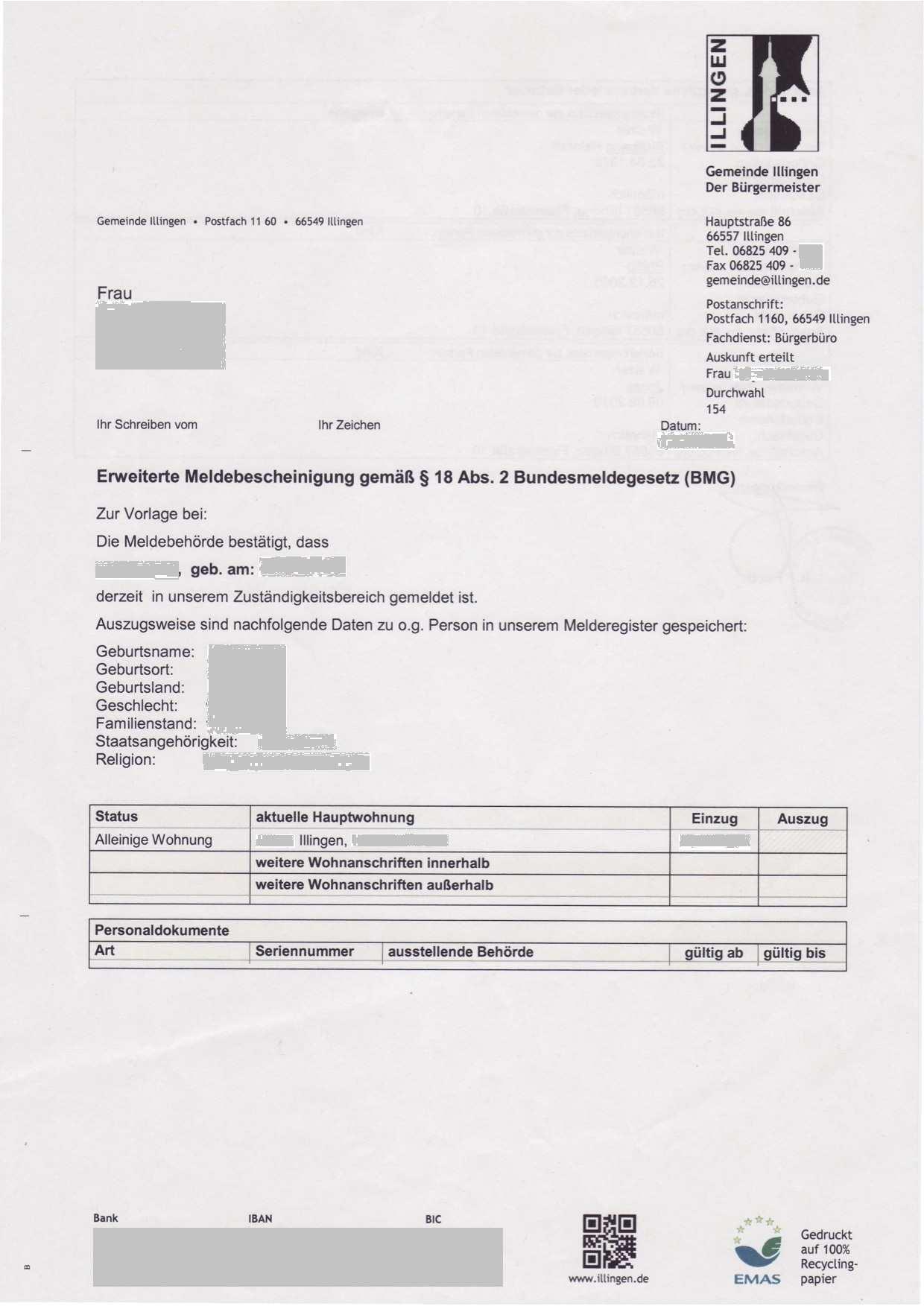 Erweiterte Meldebescheinigung Illingen De Ro Musterubersetzungen Von Urkunden