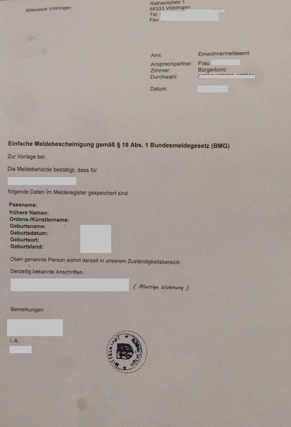 Einfache Meldebescheinigung Volklingen De Ro Musterubersetzungen Von Urkunden