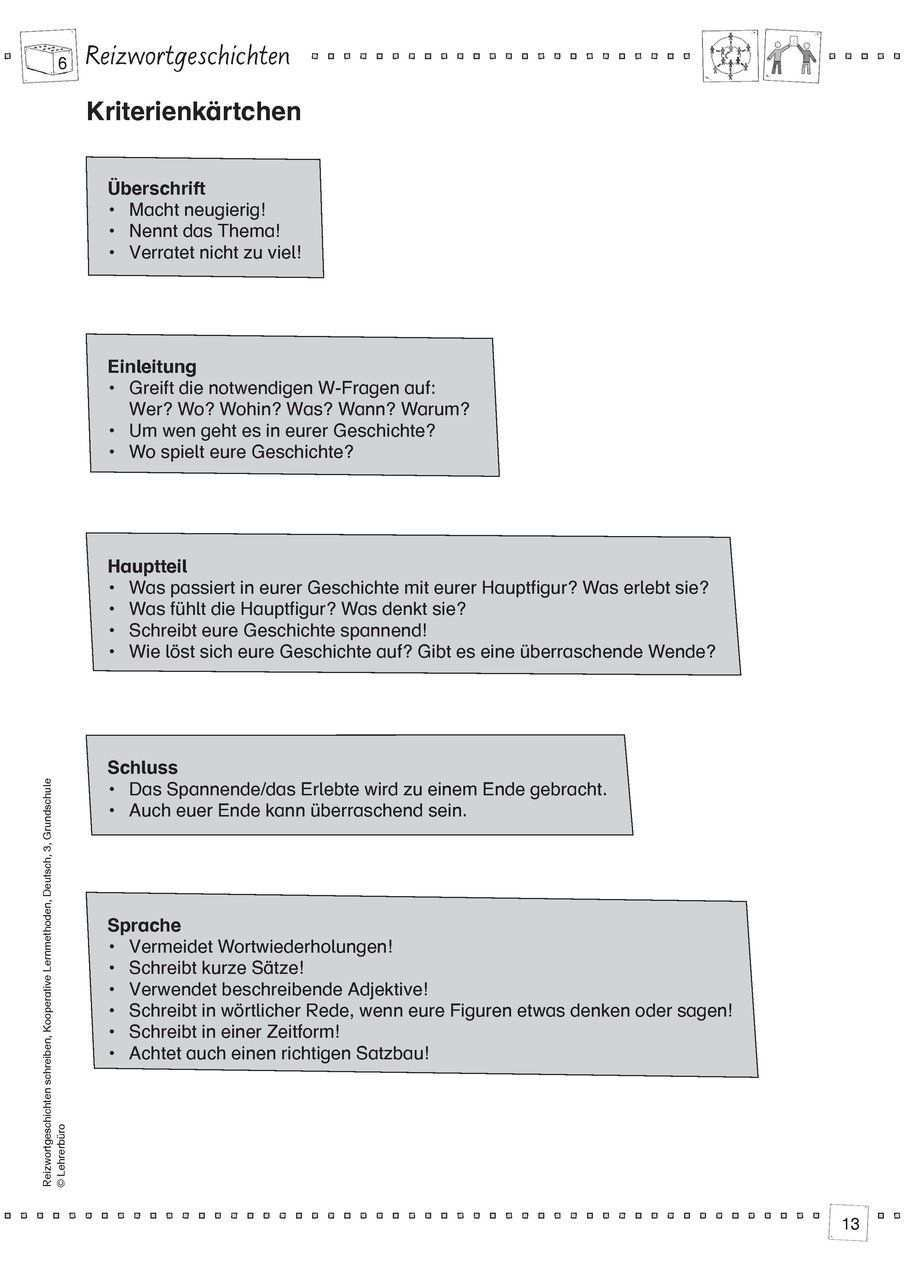 Reizwortgeschichte Arbeitsblatter Lehrerburo School Lesson Education