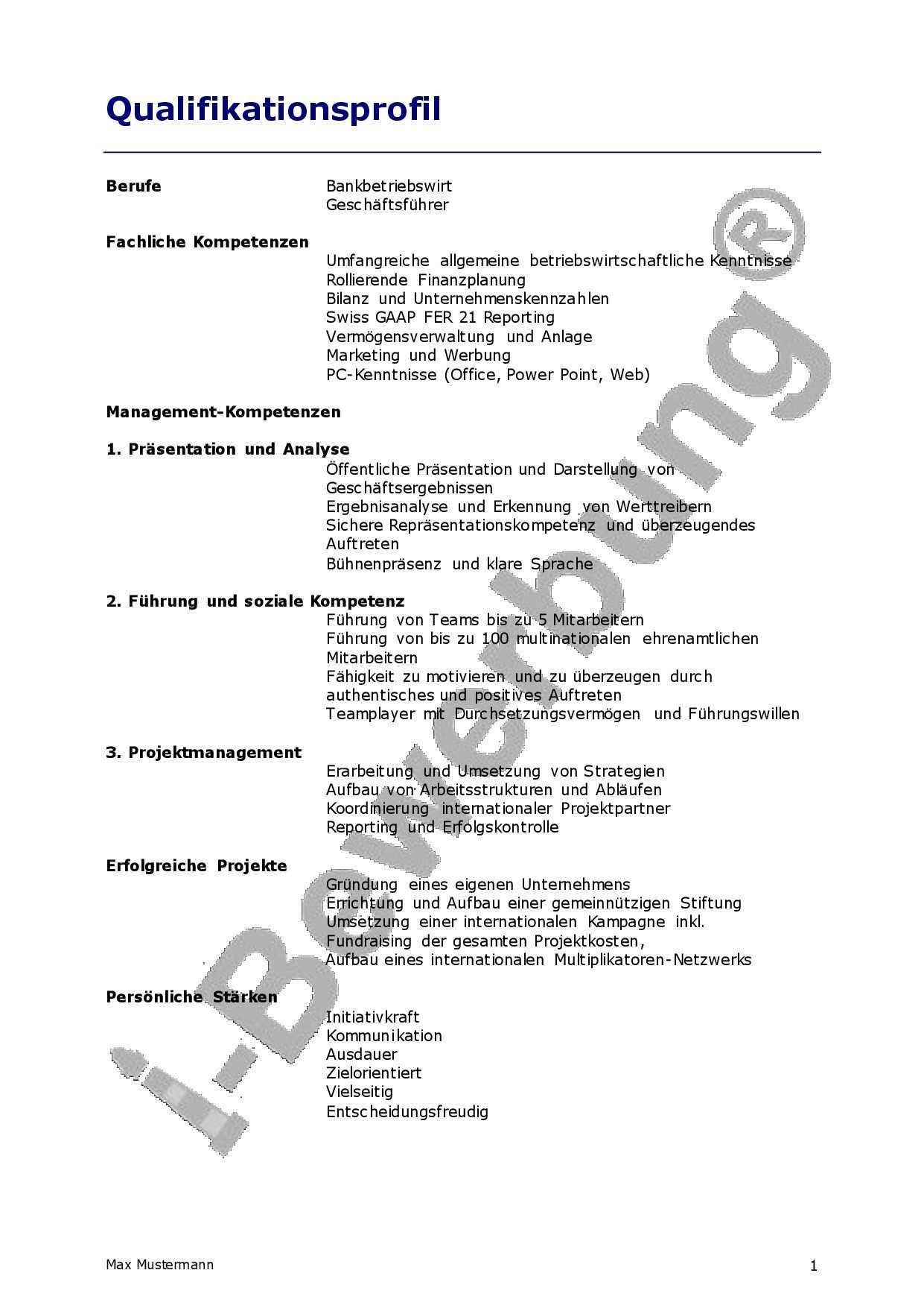 Beispiel Qualifikationsprofil Zur Initiativbewerbung Vorlagen Lebenslauf Lebenslauf Bewerbung Lebenslauf