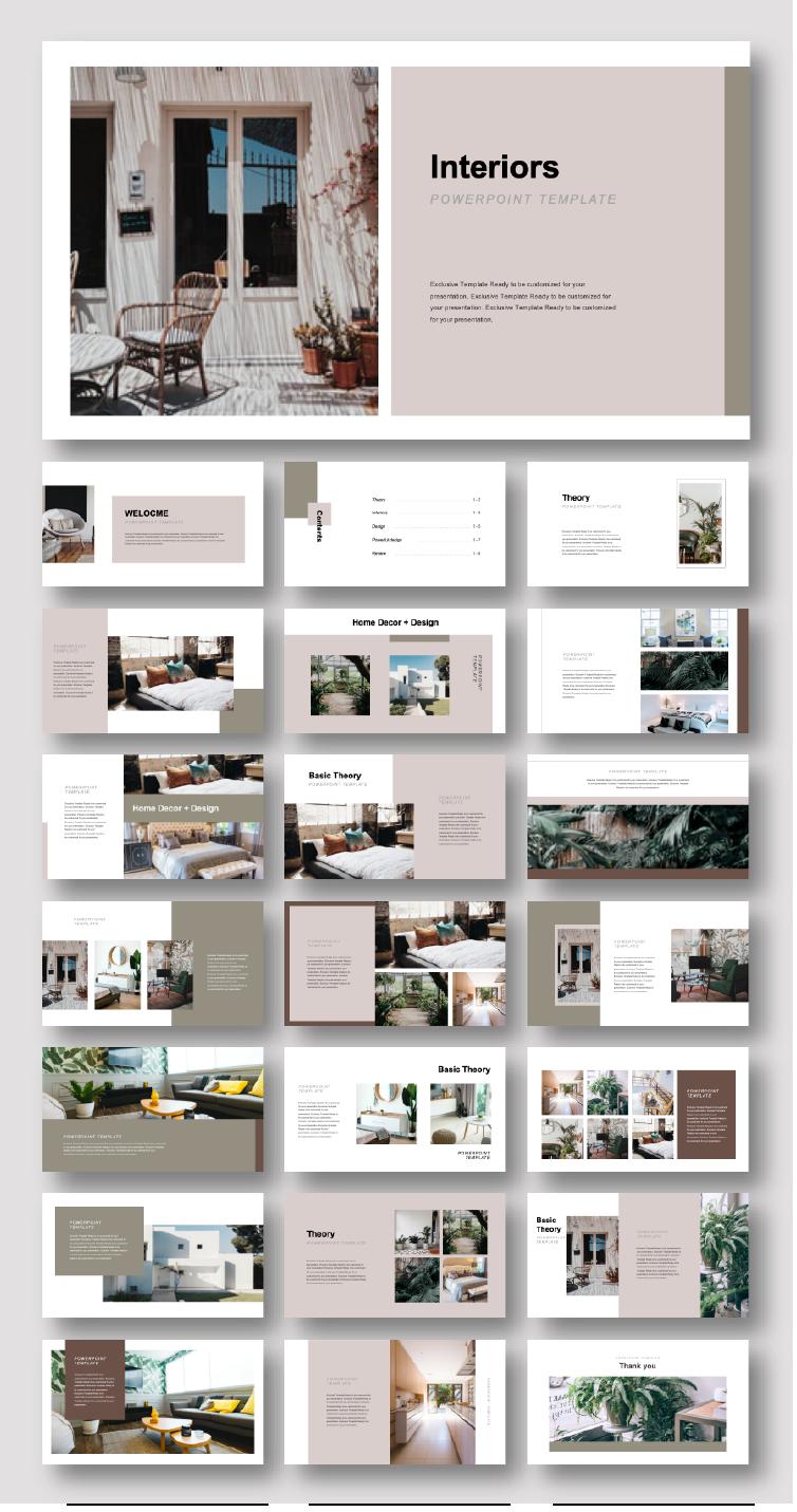 Creative Interiors Design Presentation Template Original And High Quality Powerpoint Templates Interior Design Portfolio Layout Architecture Portfolio Layout Interior Design Presentation