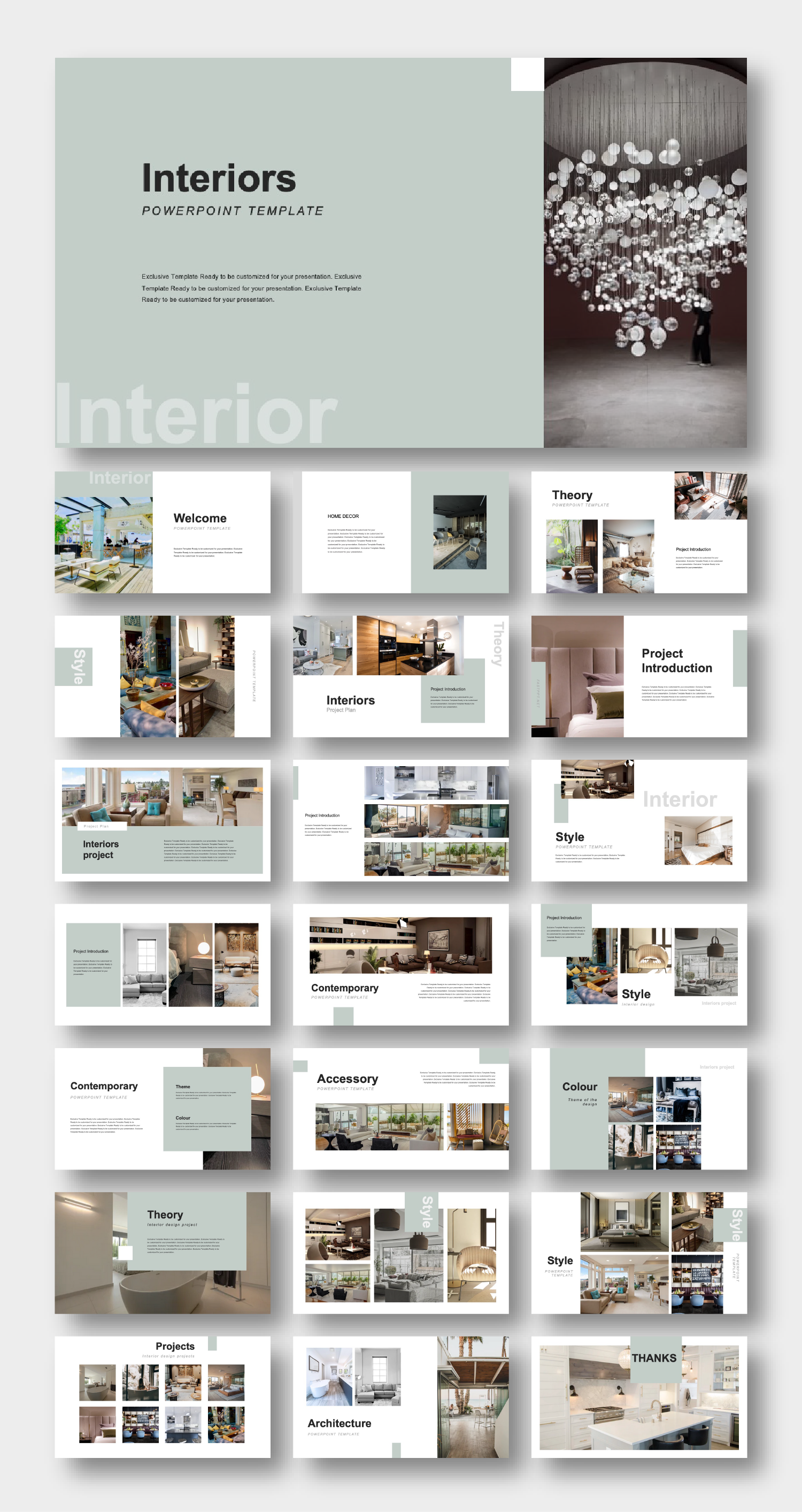 Creative Contemporary Interior Design Template Original And High Quality Powerpoint Templates Interior Design Template Interior Design Presentation Page Layout Design
