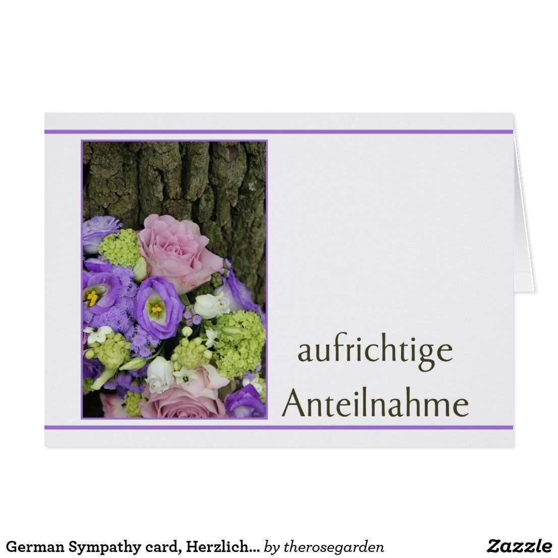German Sympathy Card Herzliches Beileid Card Zazzle Com Sympathy Cards Condolence Card Sympathy