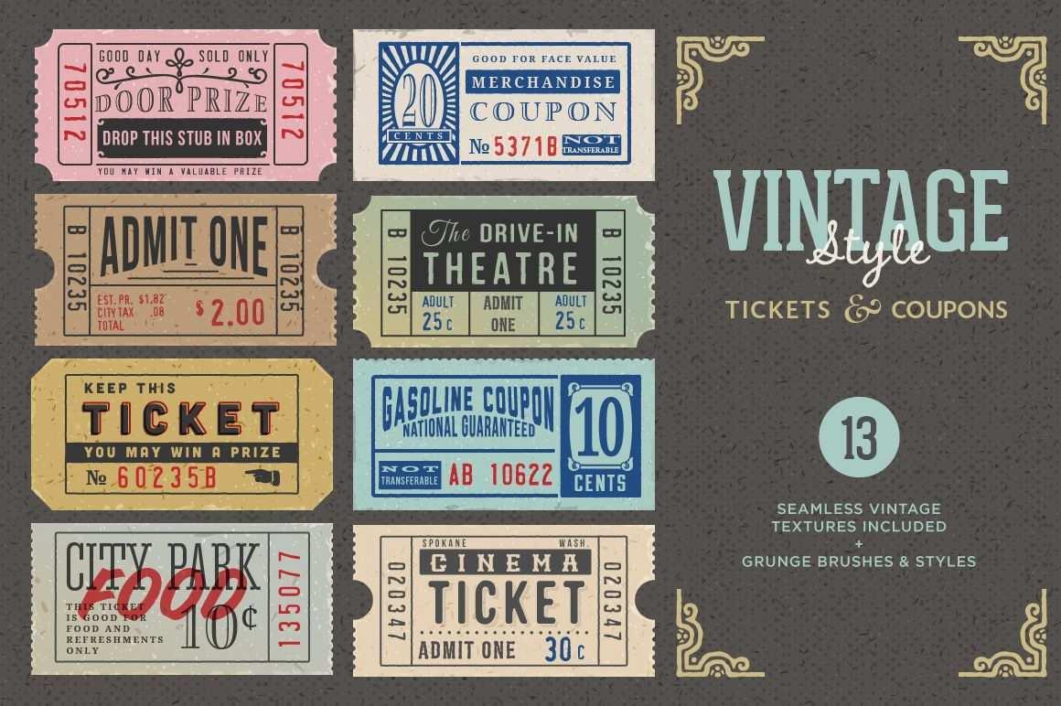 Vintage Tickets Coupons Bundle Vintage Ticket Coupon Design Voucher Design