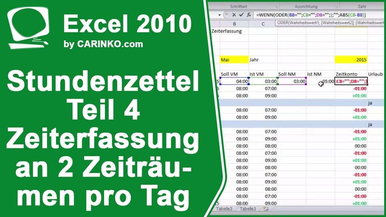 Stundenzettel Zeiterfassung In Excel Erstellen Teil 4 Carinko Com Zeiterfassung Tagessatz Stundenlohn