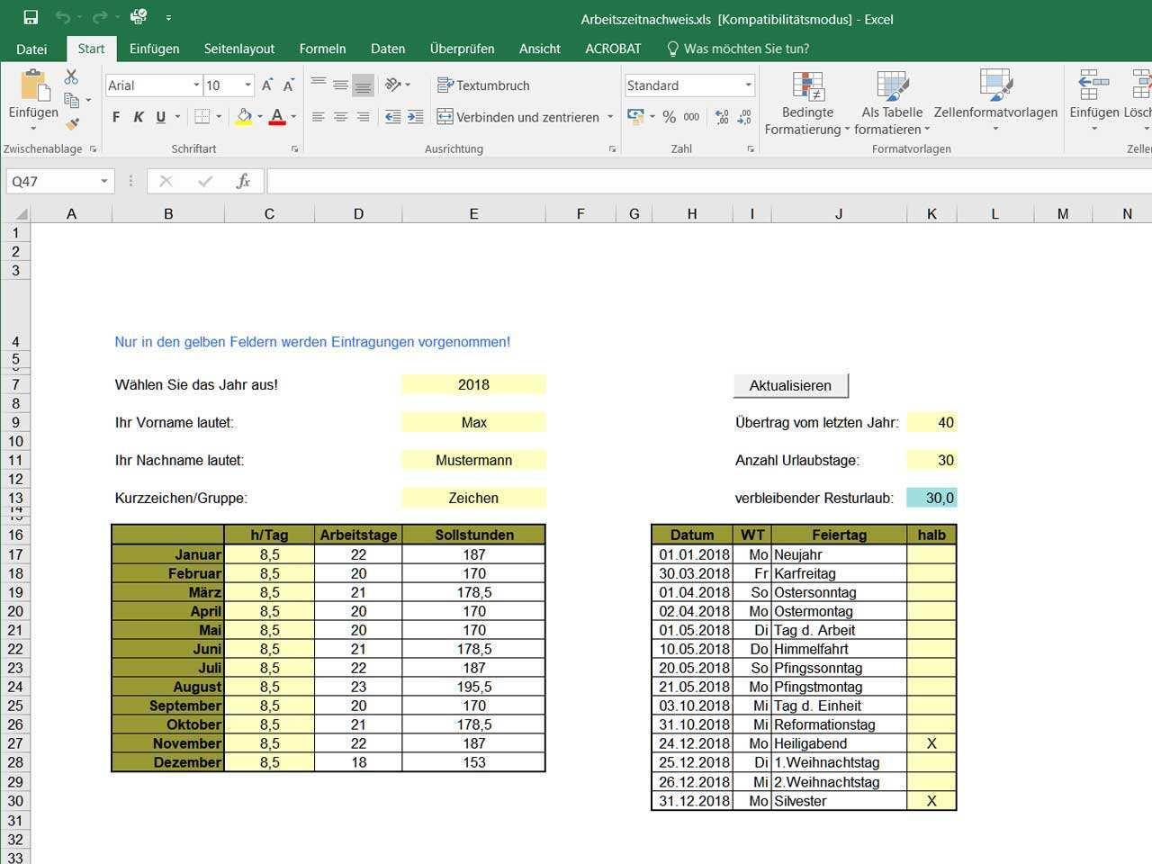 Zeitnachweis Mit Excel Vorlage Zeiterfassung Kostenlos
