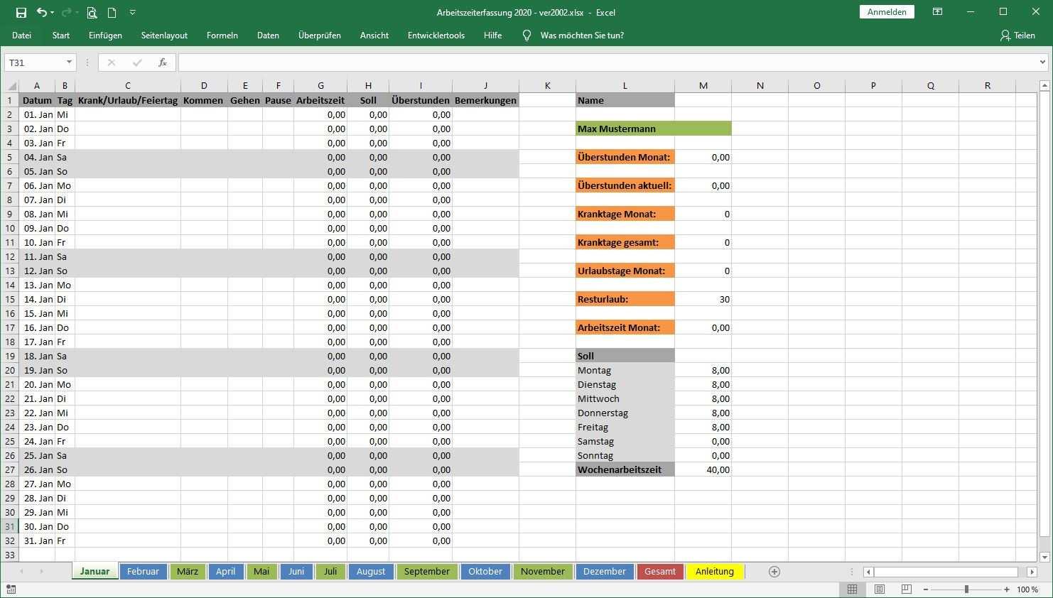 Arbeitszeiterfassung In Excel Vorlage Zur Freien Nutzung Zeilenabstand Net Kultur Digitales