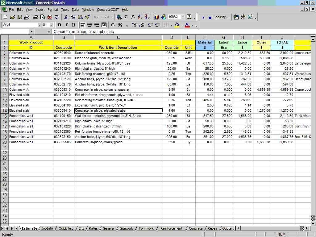 Formwork Design Spreadsheet Estimate Template Remodeling Estimates Excel Templates Business