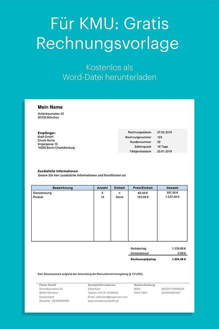 Rechnung Kleinunternehmer Kostenlose Rechnungsvorlage Fur Kmu Rechnung Vorlage Rechnungsvorlage Excel Vorlage