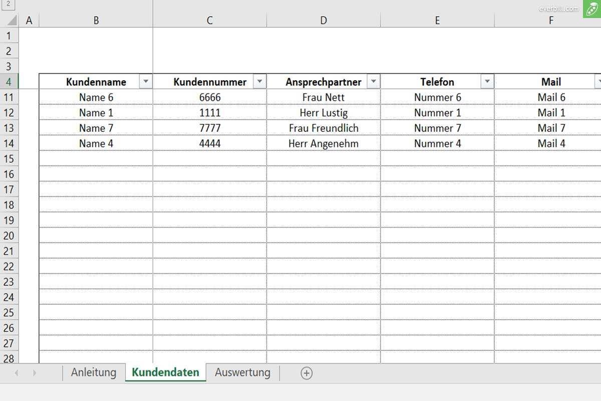 Die Kundenliste Excel Vorlage Kundenverwaltung Everbill Magazin