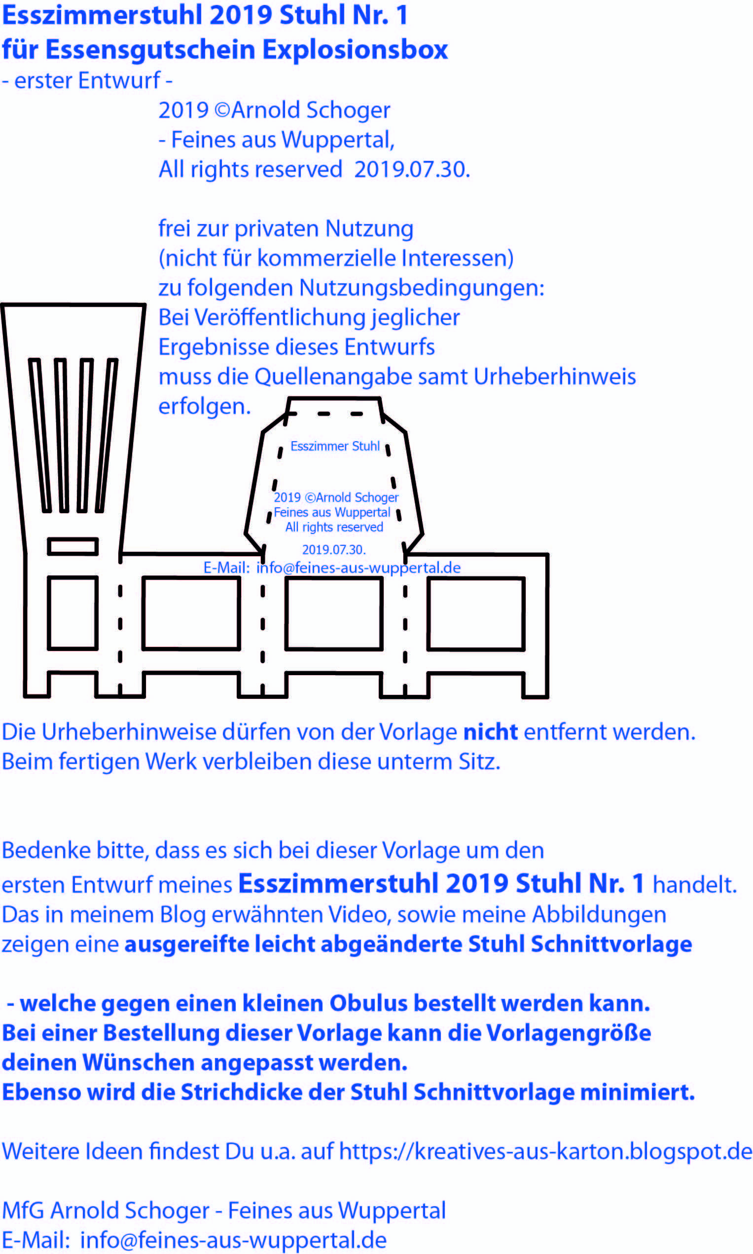 Bastelvorlage Stuhl Nr 1 Dinnergutschein Explosionsbox 2019 C Arnold Schoger Feines Aus Wuppertal Explosionsbox Koffer Basteln Basteln